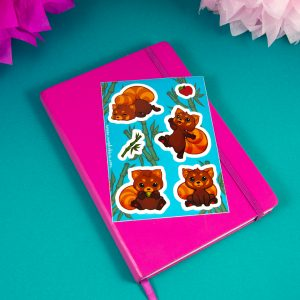 roter panda sticker sheet