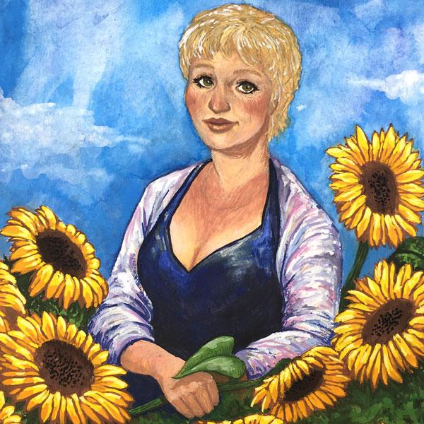 Gouache Portrait Sunflower